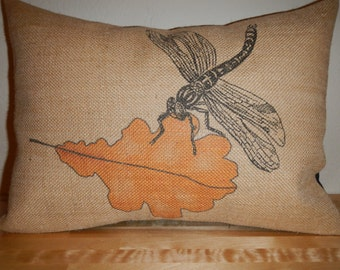Dragonfly Burlap Pillow, Orange Leaf,  Autumn,Shabby Chic ,Thanksgiving, INSERT INCLUDED