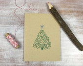 6 Letterpress Holiday Christmas Tree Cards  // Green and Blue