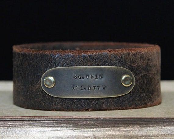 Custom Coordinate Cuff / GPS Coordinates / Mens Personalized Leather Bracelet / Latitude Longitude / GPS Coordinates Leather Cuff