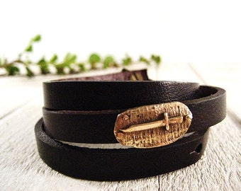Tiny Bronze Dagger and Leather Wrap Bracelet With Hidden Custom Message.