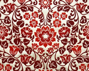 Retro Flock Wallpaper by the Yard 70s Vintage Flock Wallpaper - 1970s Red and Burgundy Floral Flock on Gold with Flowers and Heart Shapes