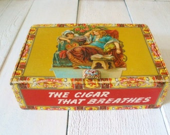 Vintage cigar box art embellished lounging literary ladies bookclub