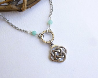 Antiqued Silver Celtic Knot Necklace -- vintage style... boho... tribal... you choose the stone