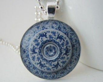 Blue and White China Pendant with Free Necklace