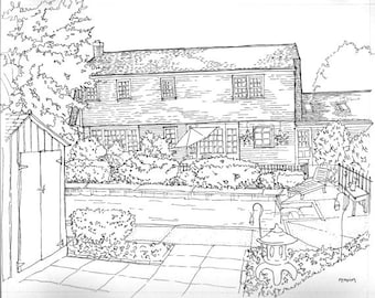 Custom Backyard pen and ink portrait, drawing