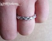 Silver Braided Stackable Leather Ring Men Women Unisex Children