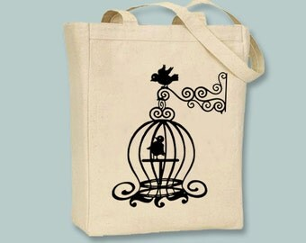Whimscial Birdcage Canvas Tote - Selection of sizes and ANY COLOR IMAGE available
