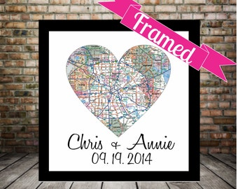 Gift for Couple City Map Heart FRAMED Art Print Personalized Wedding Gift Any Location Available Engagement Gift Anniversary Valentine Gift