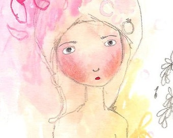 ACEO Original Girl Painting Drawing, Whimsical Girl, Folk Art, ATC Original Gouache, Small Home Decor, 3.5 x 2.5, Free To Dream