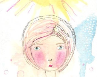 You are my sunshine original aceo atc art card