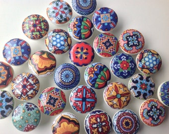 wooden drawer knobs; Talavera design  hand decorated (decoupaged)1 1/2 inches (6)1 1/2 inches diameter includes inside coupler and screws