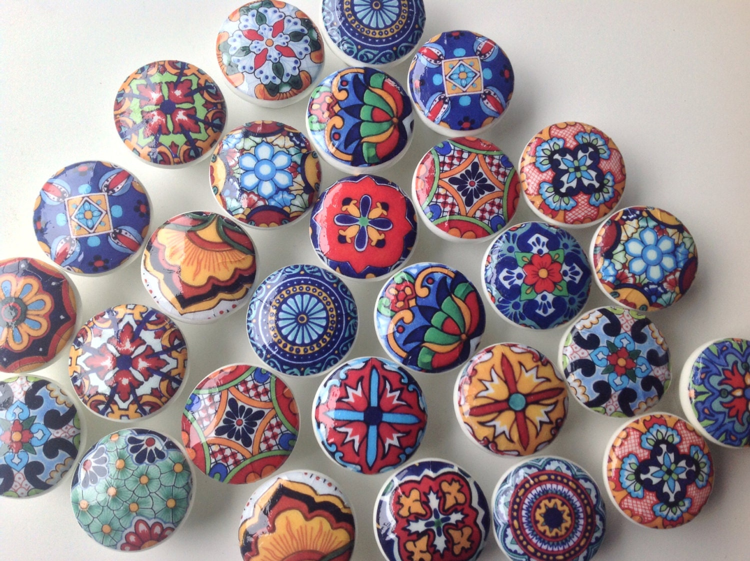 6 Wooden Drawer Knobs Talavera Design Hand Decorated