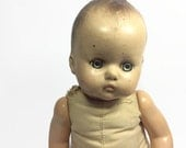 1950s little composition lost baby doll haunting blue eyes complete condition