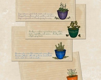 Herb recipe Cards, collage sheet of 4, download & print