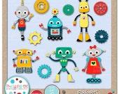 Robots Cutting Files & Clip Art - Instant Download