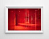 Seattle Library Red Room Halls, Seattle Art, Red Modern Abstract Art, Minimalist Art - 8x12 Fine Art Giclée Print