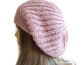 Slouchy Beanie, Light Pink Womens Beret, Hat, unique gift, new design, warm, soft, cute, Fashion 2014, Christmas,Halloween