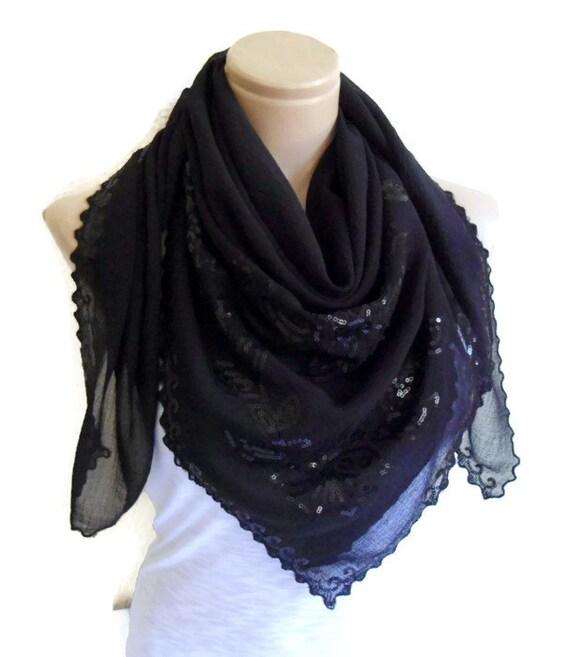 items similar to chiffon black square scarf flowered
