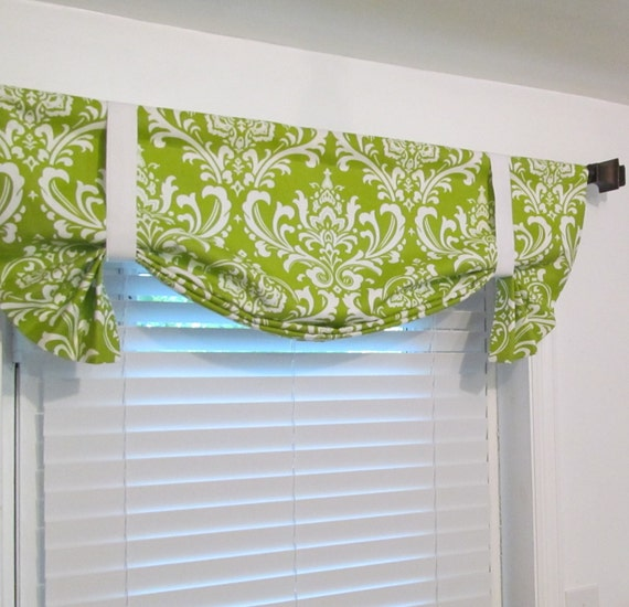 Items Similar To Tie Up Valance Lined Curtain Spring Curtains Chartreuse White Damask Custom