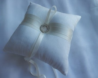 Ring Bearer Pillow Custom Wedding Ring Pillow Ivory Shantung Silk