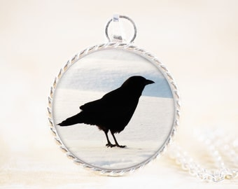 Silver Crow Necklace - Bird Silhouette Necklace Pendant, Raven Photo Jewellery