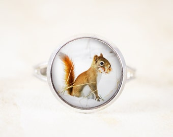 Squirrel Ring -  Adjustable Silver Ring Jewelry, Red Squirrel in Snow