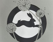 Paper Cut running Rabbit with dandelions, 8.3 x 11.7 inches, A4