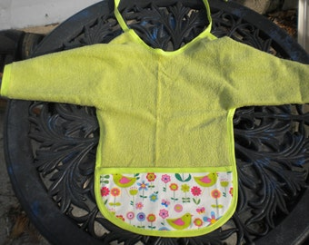 Lime Green Terrycloth Baby Bib with Sleeves and Crumbcatcher Pocket