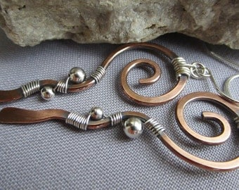 SALE 20% OFF/ Copper Earrings/ Mixed Metal Earrings/ Copper Hammered Earrings/ Copper Wire Earrings/ Artisan Earrings/Long Earrings
