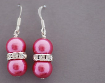 Pink Pearl and Rhinestone Earrings - UK Seller