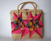 Straw Bag / Vacation Purse / Resort Handbag / Woven Reed Straw Tote Bag / Floral Straw Bag /Embroidered Bag/ Boho Bag