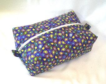 Paisley Makeup Bag, Cosmetic Bag, Boxy Bag, Zipper Pouch, Toiletry Bag, Purple, Yellow, Travel Case, Purse Organizer