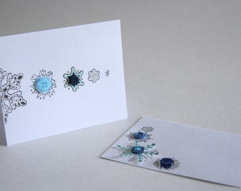 Snowflake Greeting Cards Blank Holiday Cards Winter Cards - Set of 8