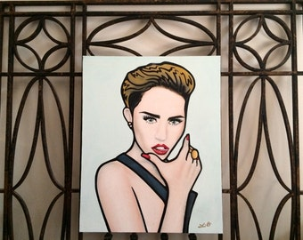 Miley Cyrus - 16x20 Hand-painted Acrylic on Canvas