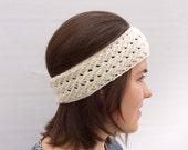 Knit Headband, Wool Headband, Ear Warmer, White Headband, Ecru Headband, Spring Trend
