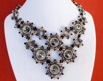 Gorgeous black diamond color crystal bib necklace