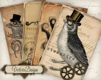 Steampunk Animals Papers 6 x 4 inch printable images instant download digital collage sheet VD0734