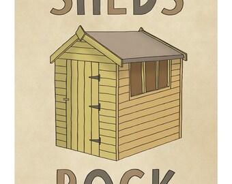 Sheds Rock Illustration Art Print - Wall Art for Men - Man Cave Decor for Dad- Gift for Husband- Boy Art