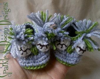 Owl Booties, Newborn to 36 months, Crochet, Custom Made
