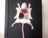 Knitted Lab Rat: Framed with Black Background