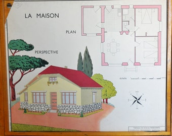 Shabby Chic Vintage French School double-sided poster of a plan of a House and a Roof