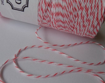 Coral and White Bakers Twine - Divine Twine - ( 10 Yards ) - Cotton String - Coral String - Scrapbooking - Coral Twine - Packaging