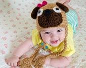 Puppy Pug Hat - PDF Crochet Pattern - 7 sizes ( Newborn to Adult ) - Beanie Hat Baby Child Adult Accessorie