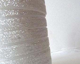 White 9mm Glitter Velvet Ribbon