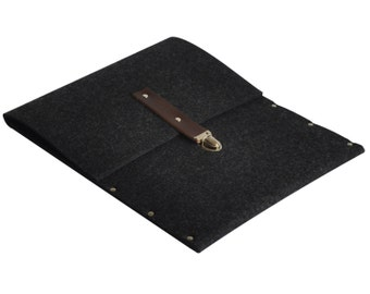 MacBook 13 Air or 13 Pro Bag Sleeve, Cover, Case, Briefcase black synthetic felt with leather strap