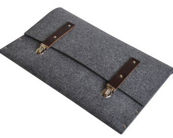 MacBook 13 inch RETINA Briefcase Case Sleeve Cover grey synthetic felt briefcase with brown leather straps