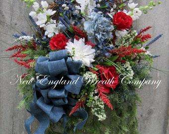 Patriotic Wreath Americana Wreath Fourth Of July Decor Memorial Day Williamsburg Summer