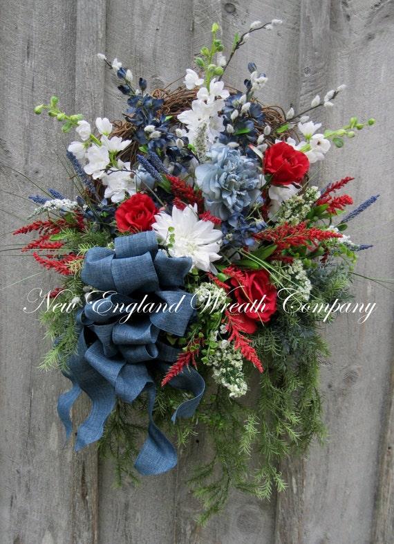 Patriotic Wreath Americana Wreath Fourth Of July Decor