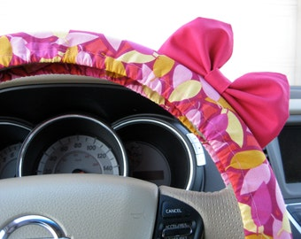 Steering Wheel Cover Bow, Abstract Pink Designer Steering Wheel Cover with Hot Pink Bow BF11151