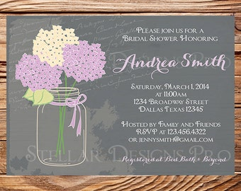 Bridal Shower Invitation,Hydrangea Mason Jar, Vintage Mason Jar Invitation, Purple, Mason Jar, Hydrangea, Wedding Shower, 5107